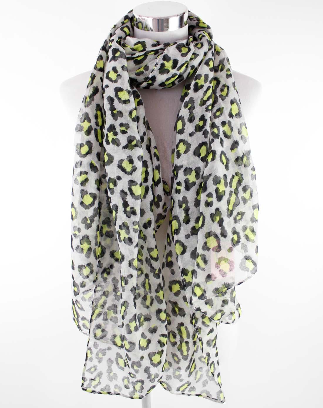 嬷嬷茶女孩围巾专场白色底黑绿色豹纹粘胶人造丝围巾