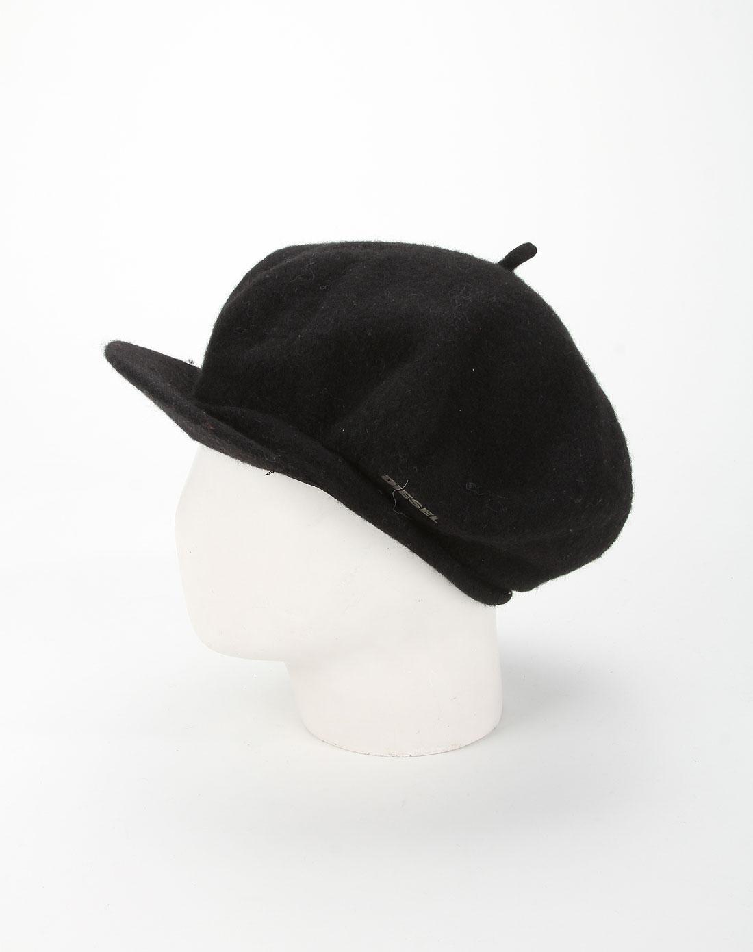女款黑色纯色毛呢针织帽子
