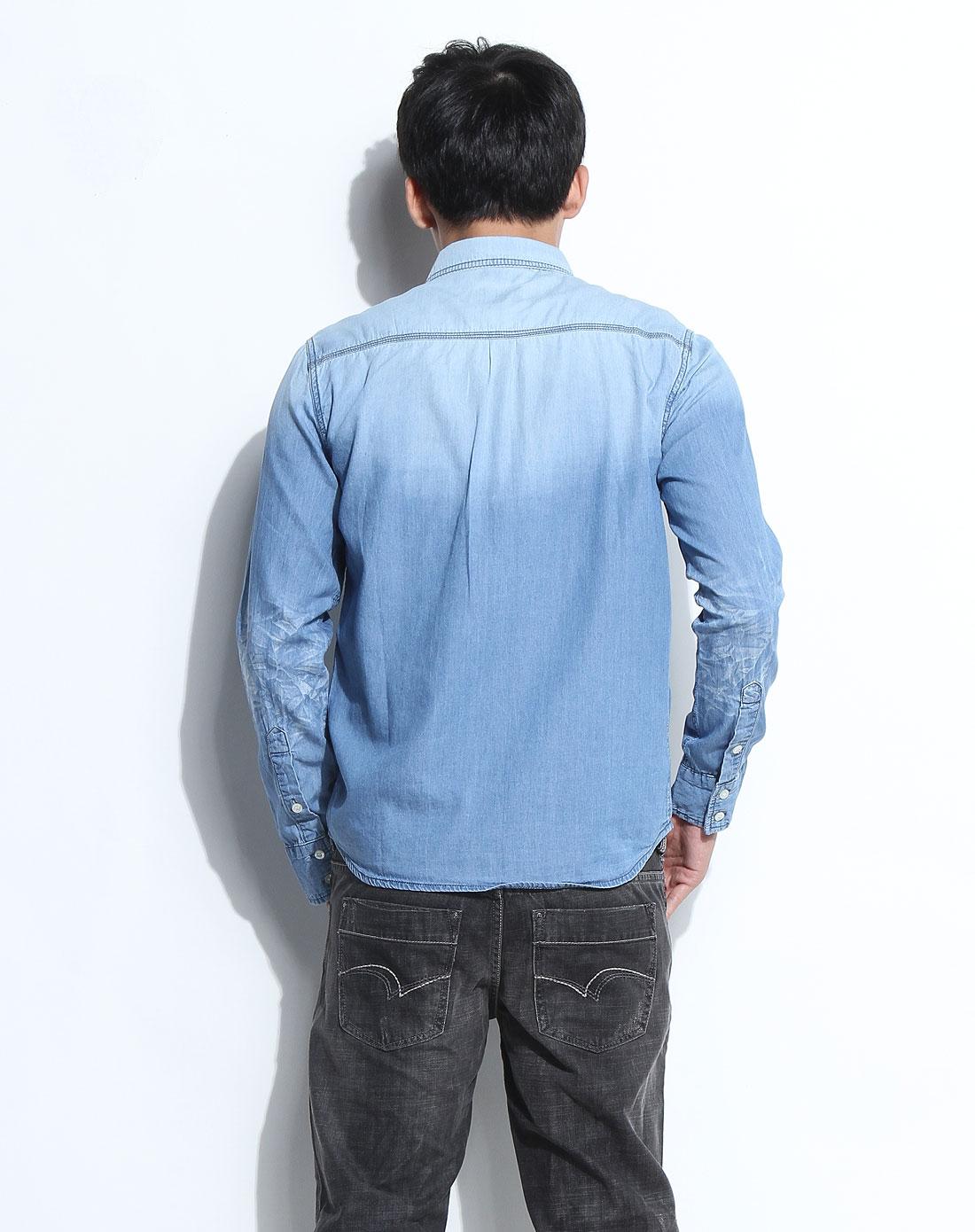 cooper男女装男款浅蓝色帅气翻领长袖牛仔衬衫b