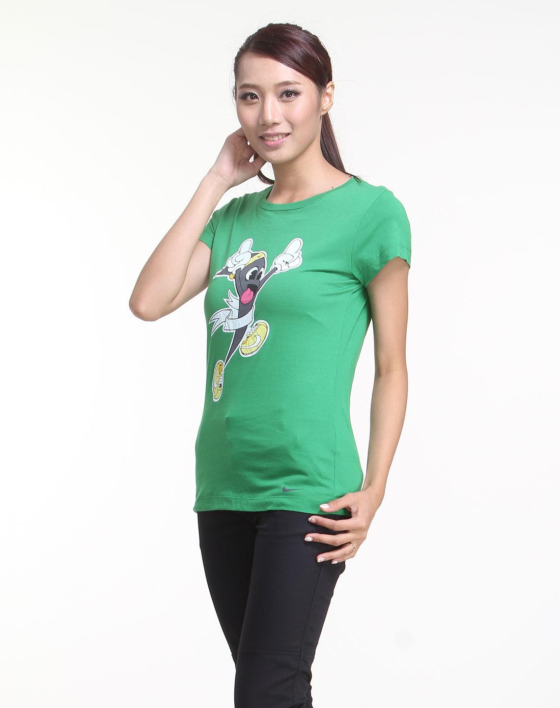 耐克nike男女装女款绿色卡通精灵图案短袖t恤417291