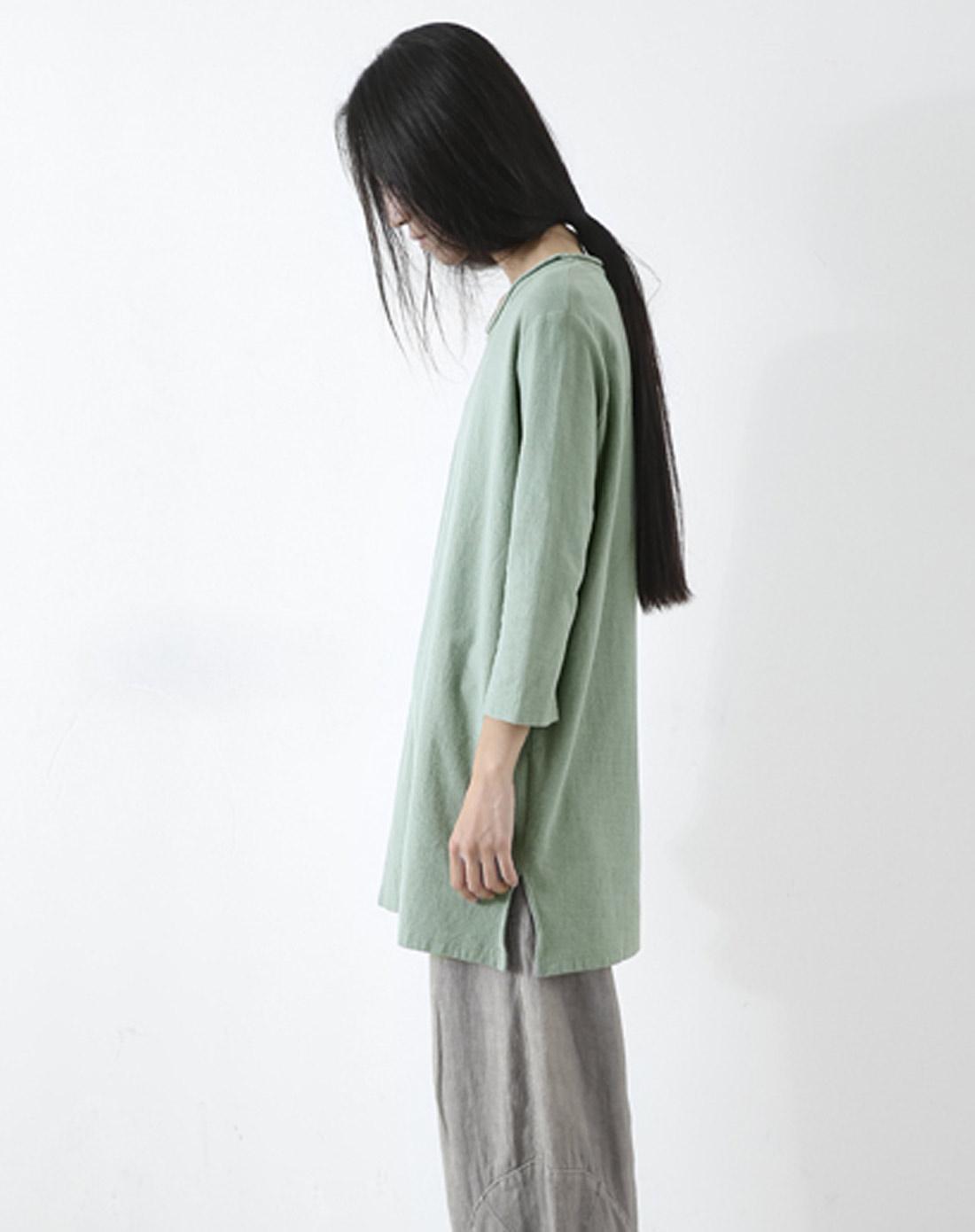 素缕souline浅绿《底色》七分袖圆领t恤sl31090126图片