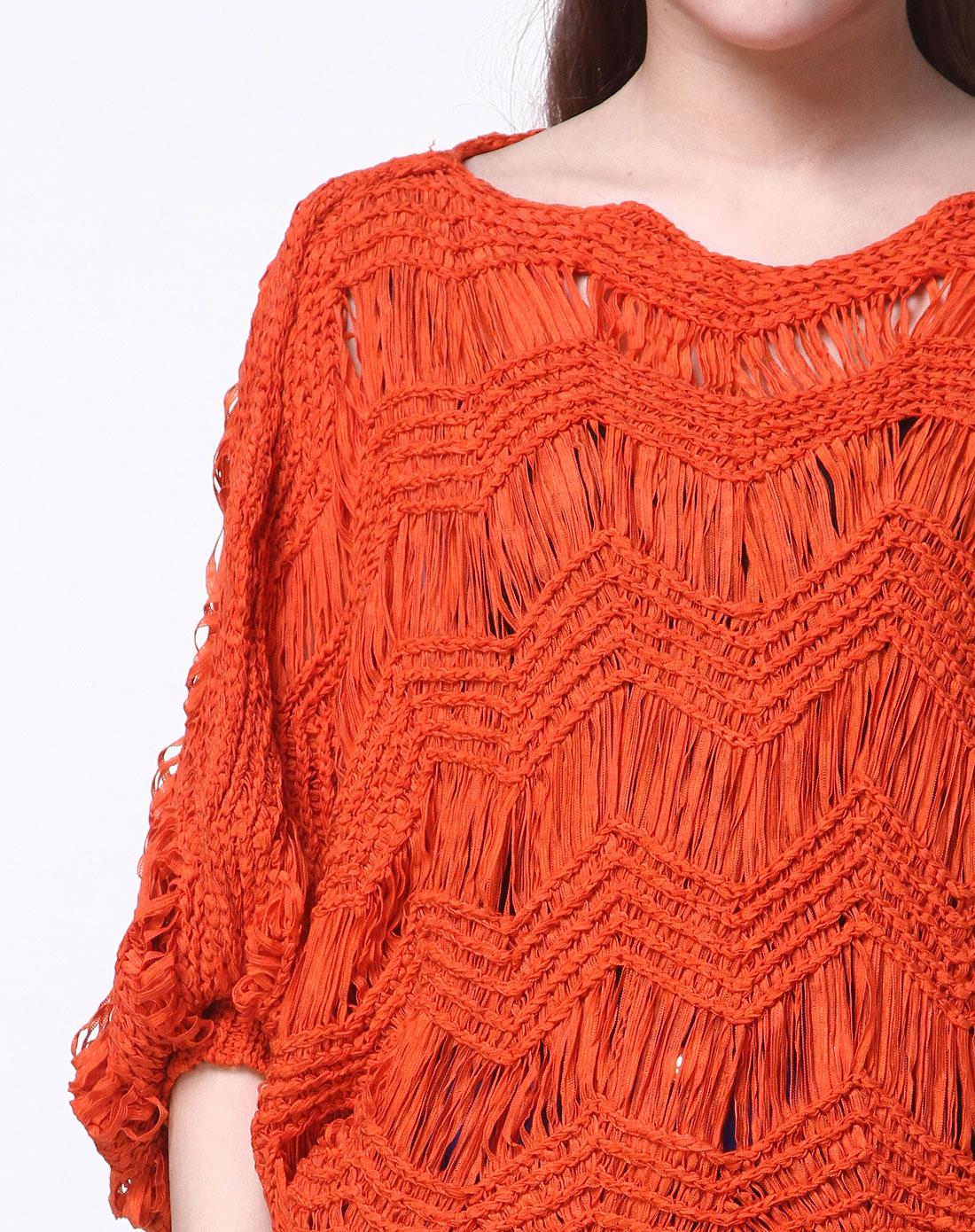 深橙色镂空花编织时尚蝙蝠袖针织衫