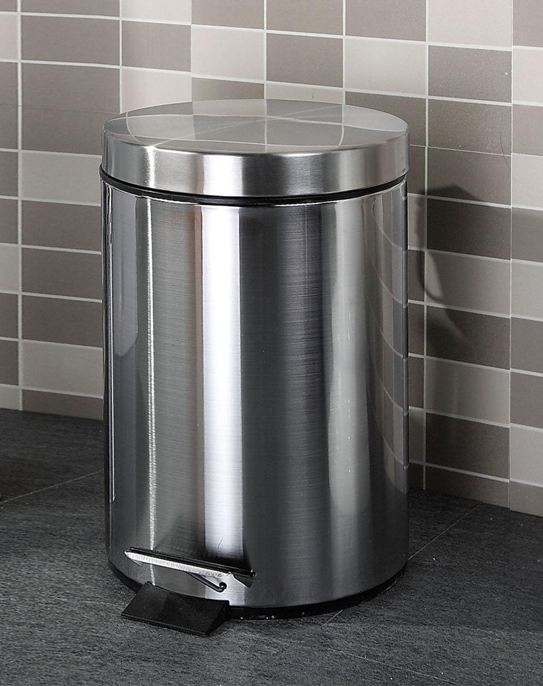 欧润哲orange家具5升不锈钢拉丝圆形垃圾桶100302