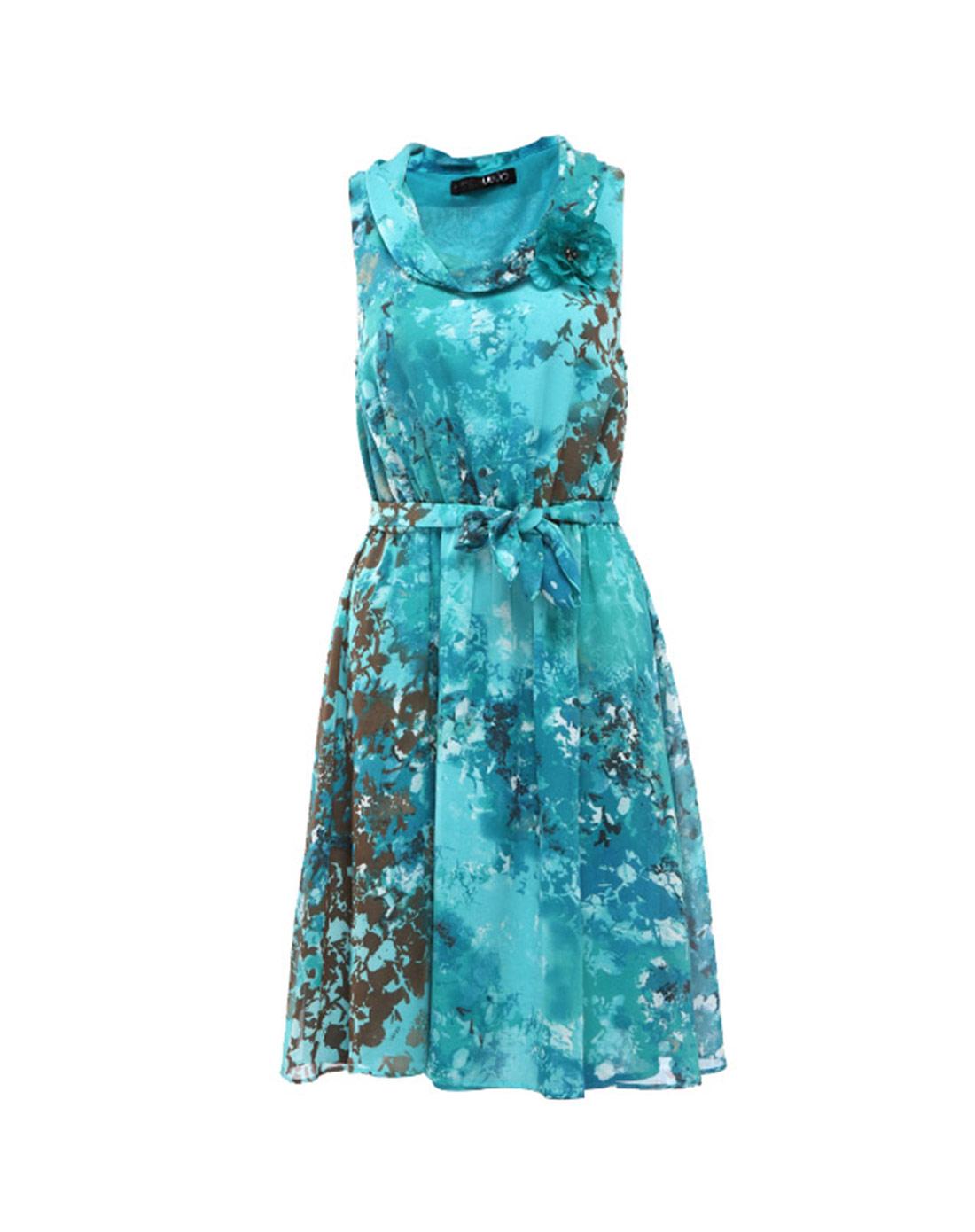 典雅水墨风格印花连衣裙