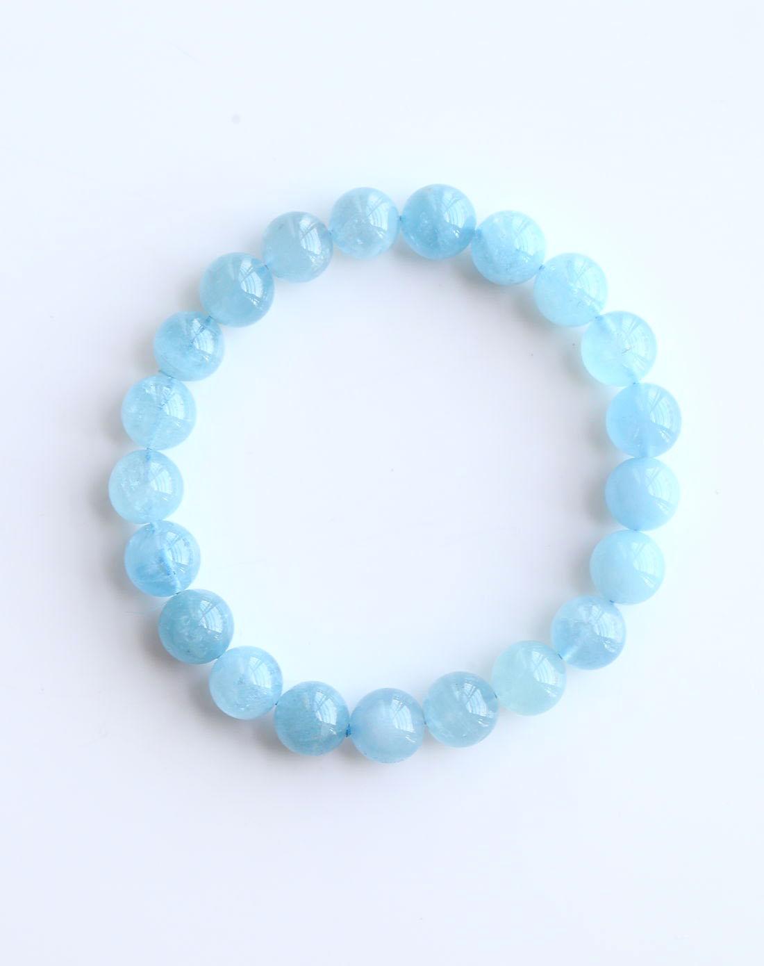 royal gem / 天然冰种9mm海蓝宝手串(权威证书)