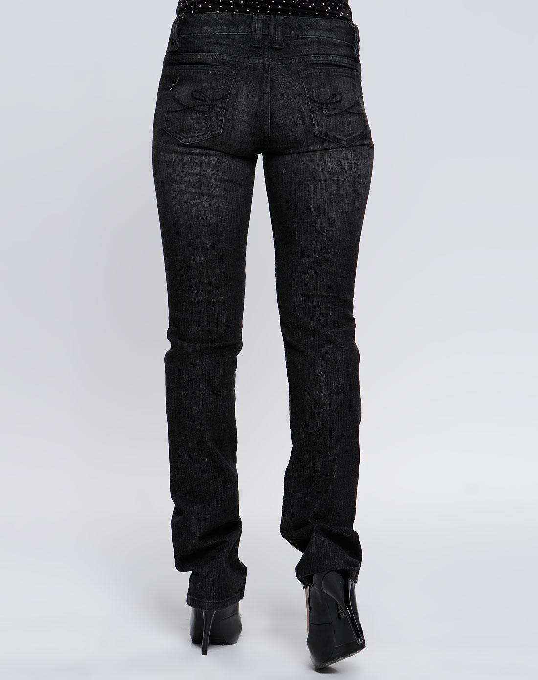 女款黑色时尚牛仔长裤