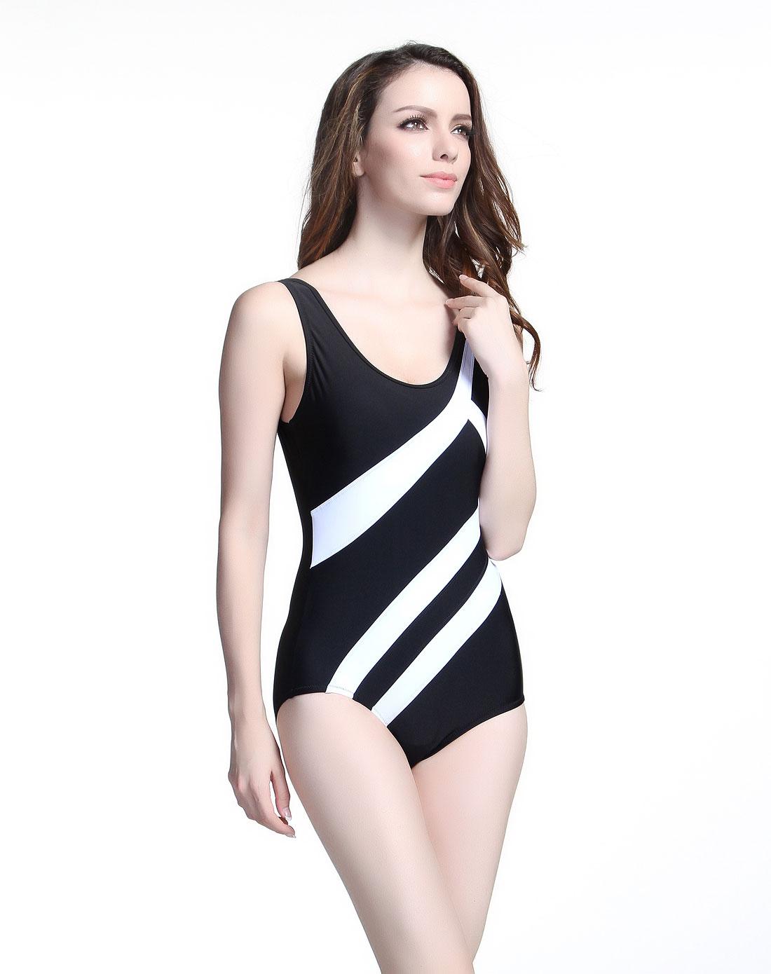 海浪&热浪泳衣混合专场-热浪 女款黑/白色简约休闲连体式泳衣