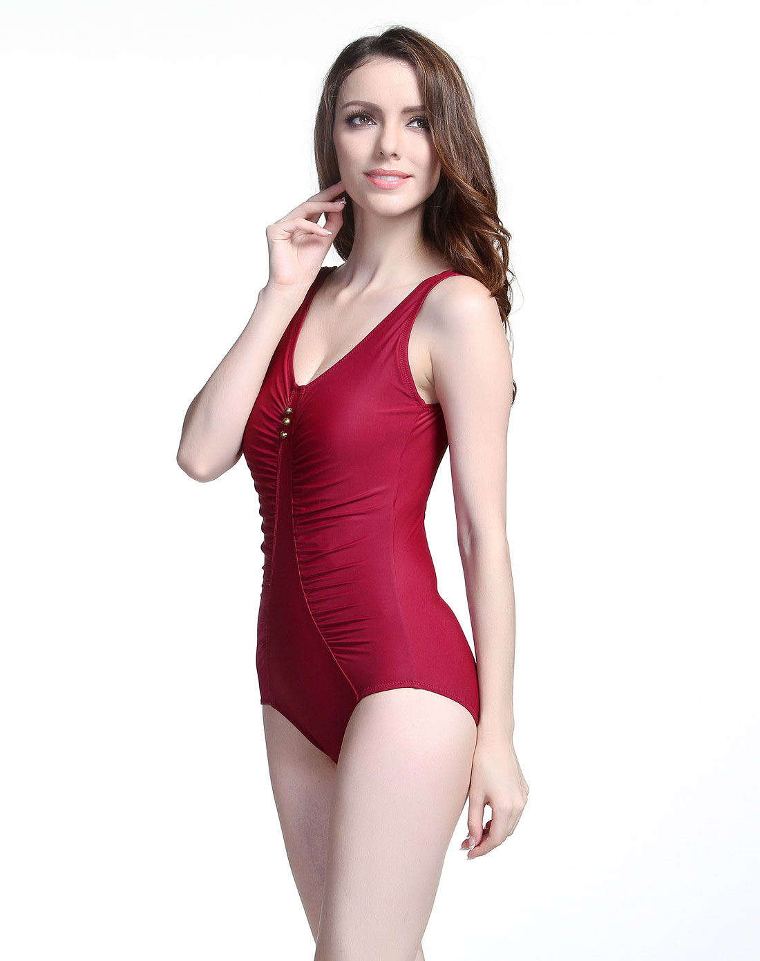 海浪&热浪泳衣混合专场-热浪 女款酒红色优雅修身连体式泳衣