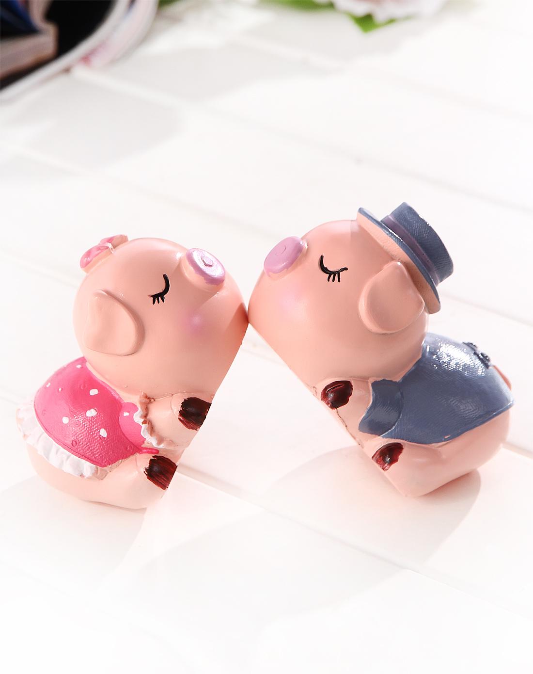 h&3 / 可爱亲嘴粉色小猪树脂摆件 2入