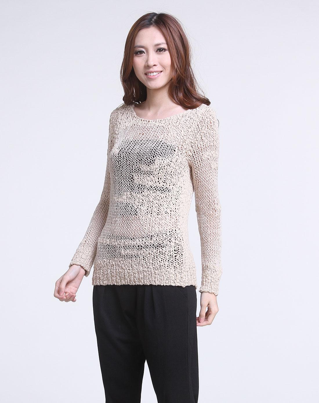 米驼色休闲镂空编织长袖针织衫