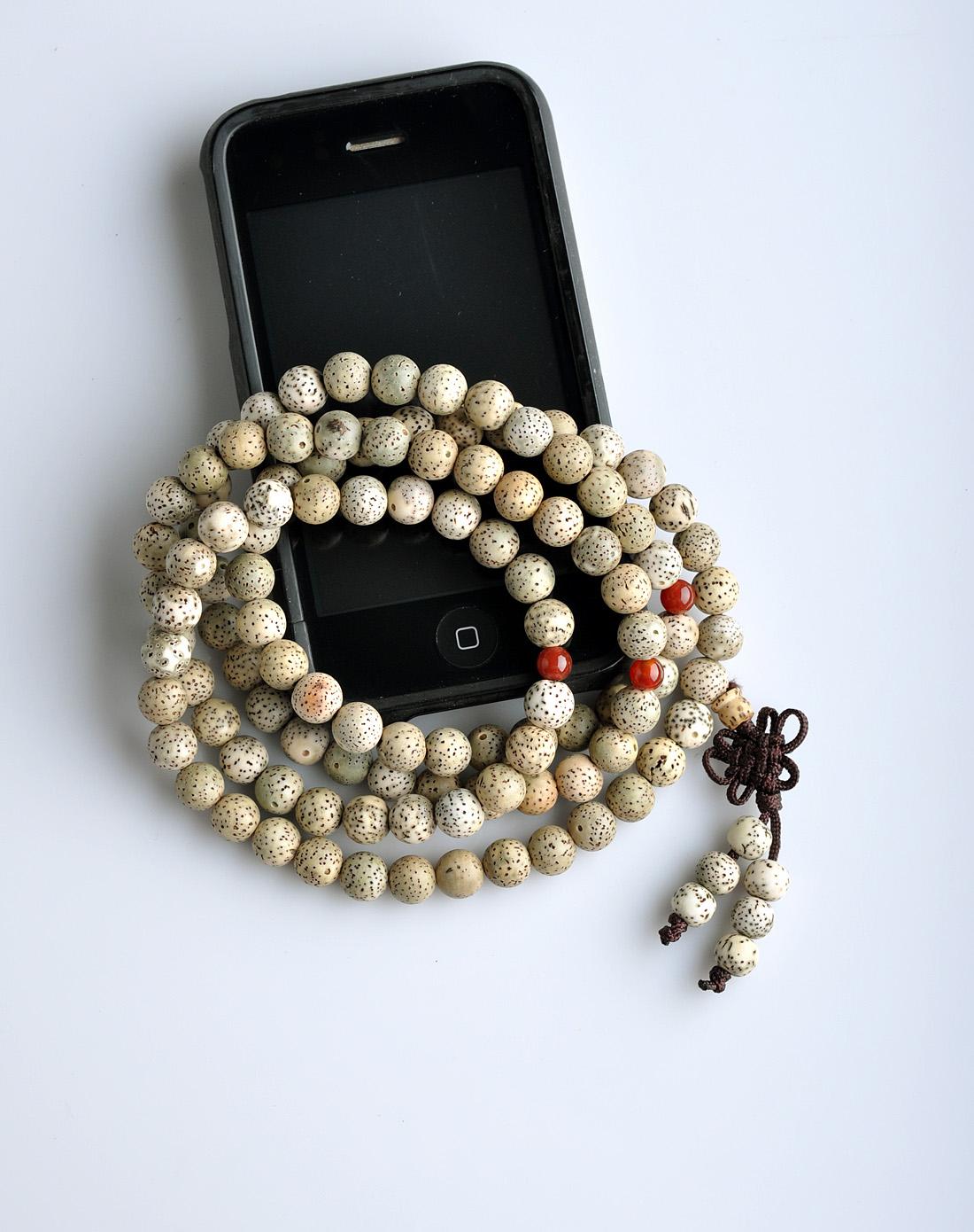 悦木之源中性白色藏式星月108颗佛珠手链ym17q056