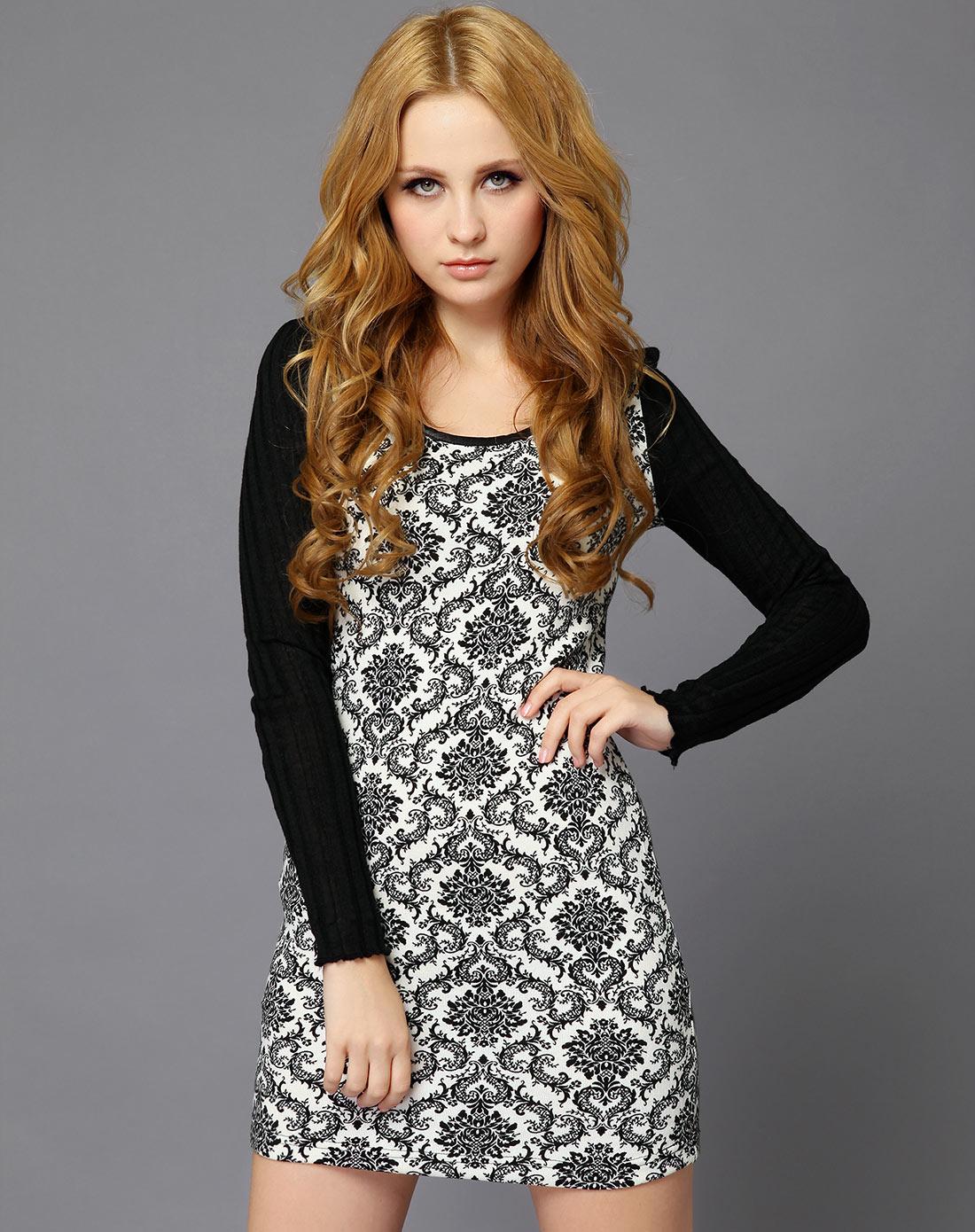 arango黑白色欧式花纹针织衫2g38y346480