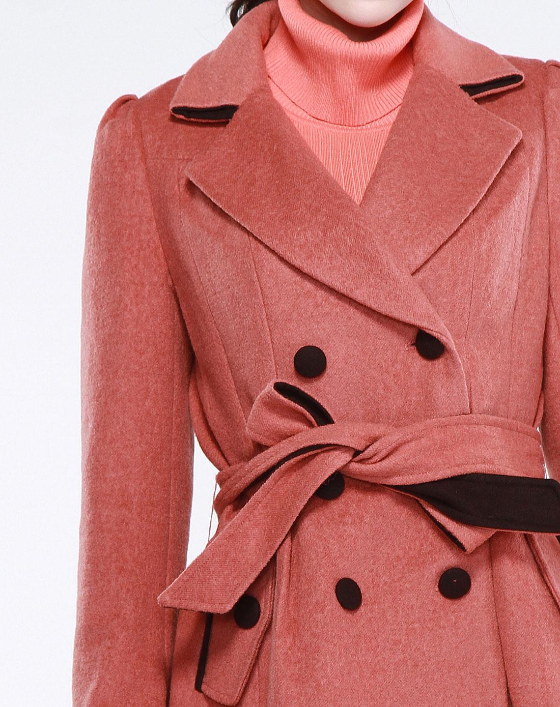 ny棕红色休闲双排扣长袖大衣124171336