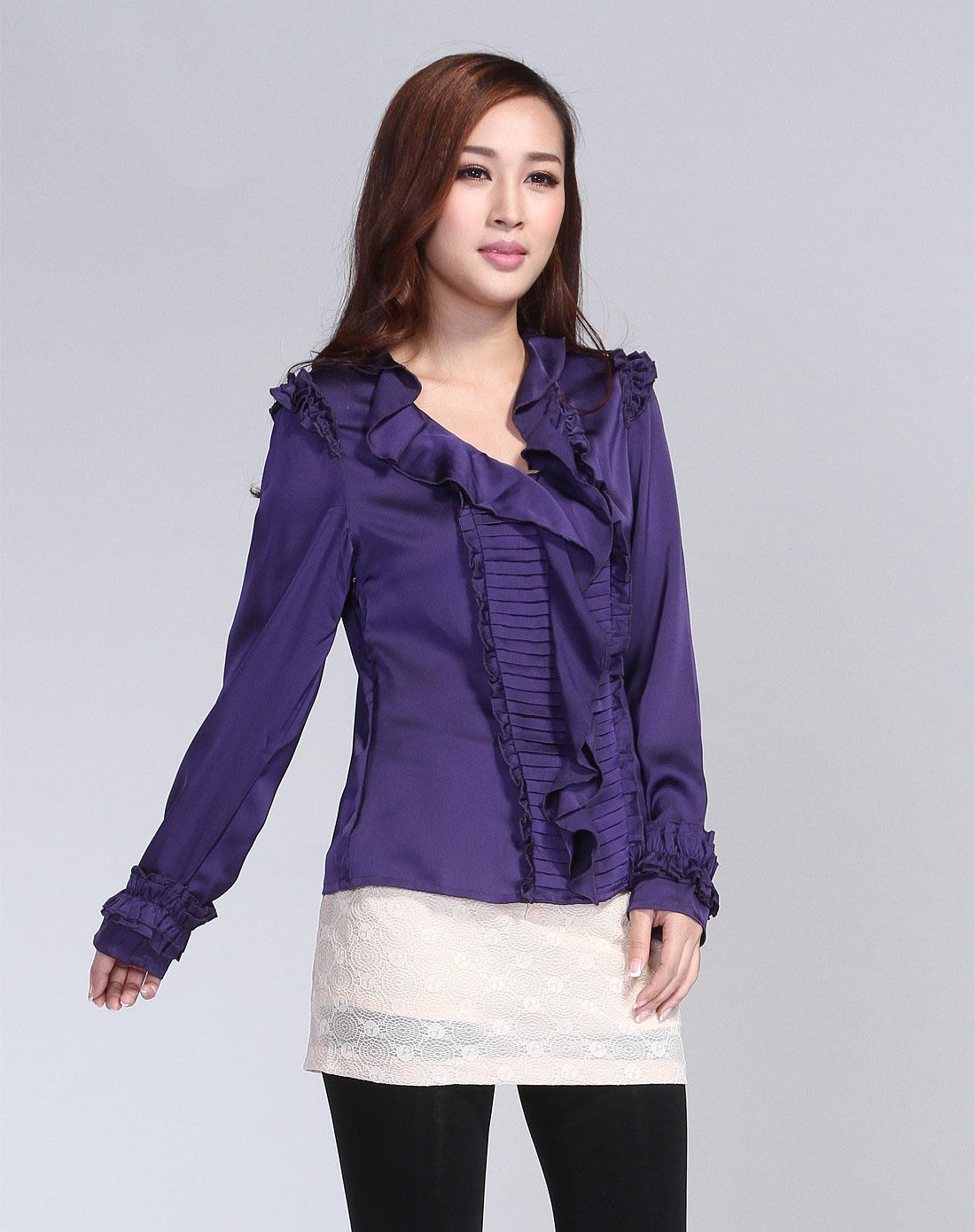 紫色荷叶花边长袖衬衫