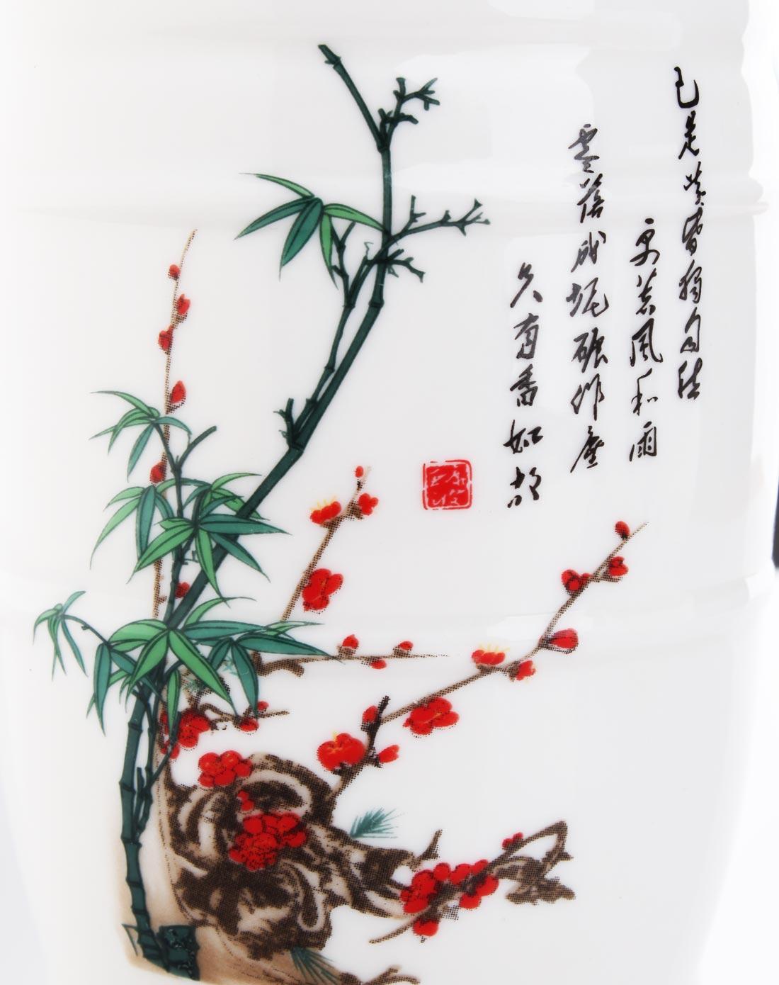 松竹白鹤仙山山水彩图