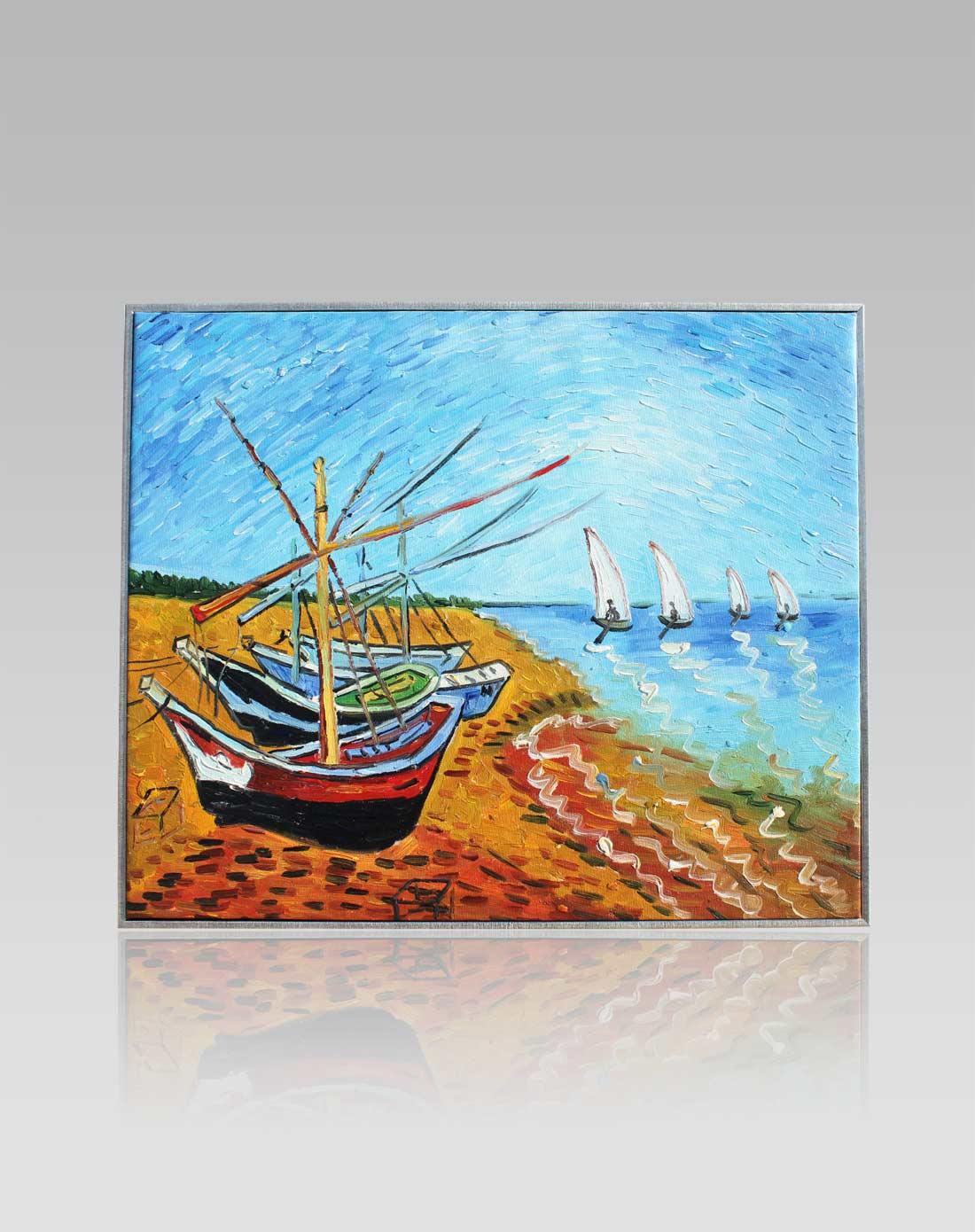 手绘油画-梵高帆船