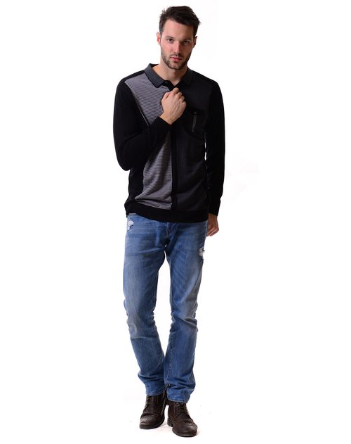 george beffry 男款黑灰色翻领t恤针织衫