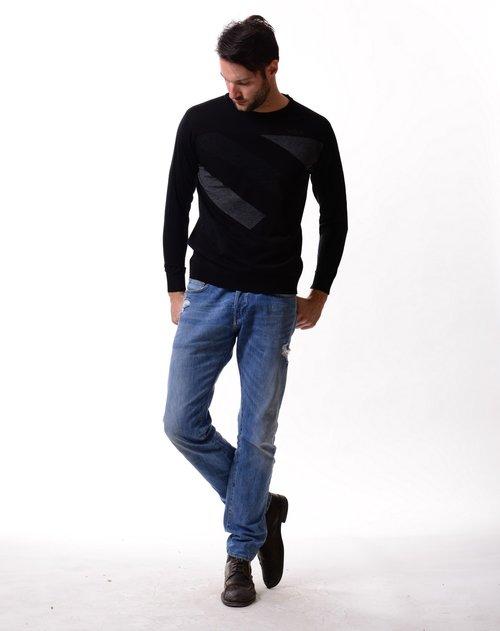 george beffry 男款黑色低圆领针织衫
