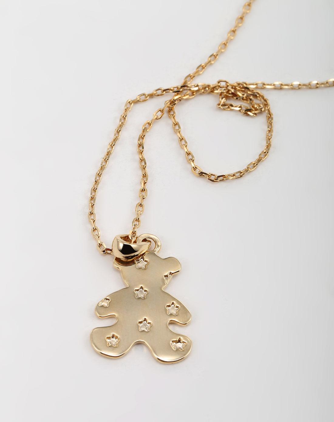 可爱挂饰金色合金项链