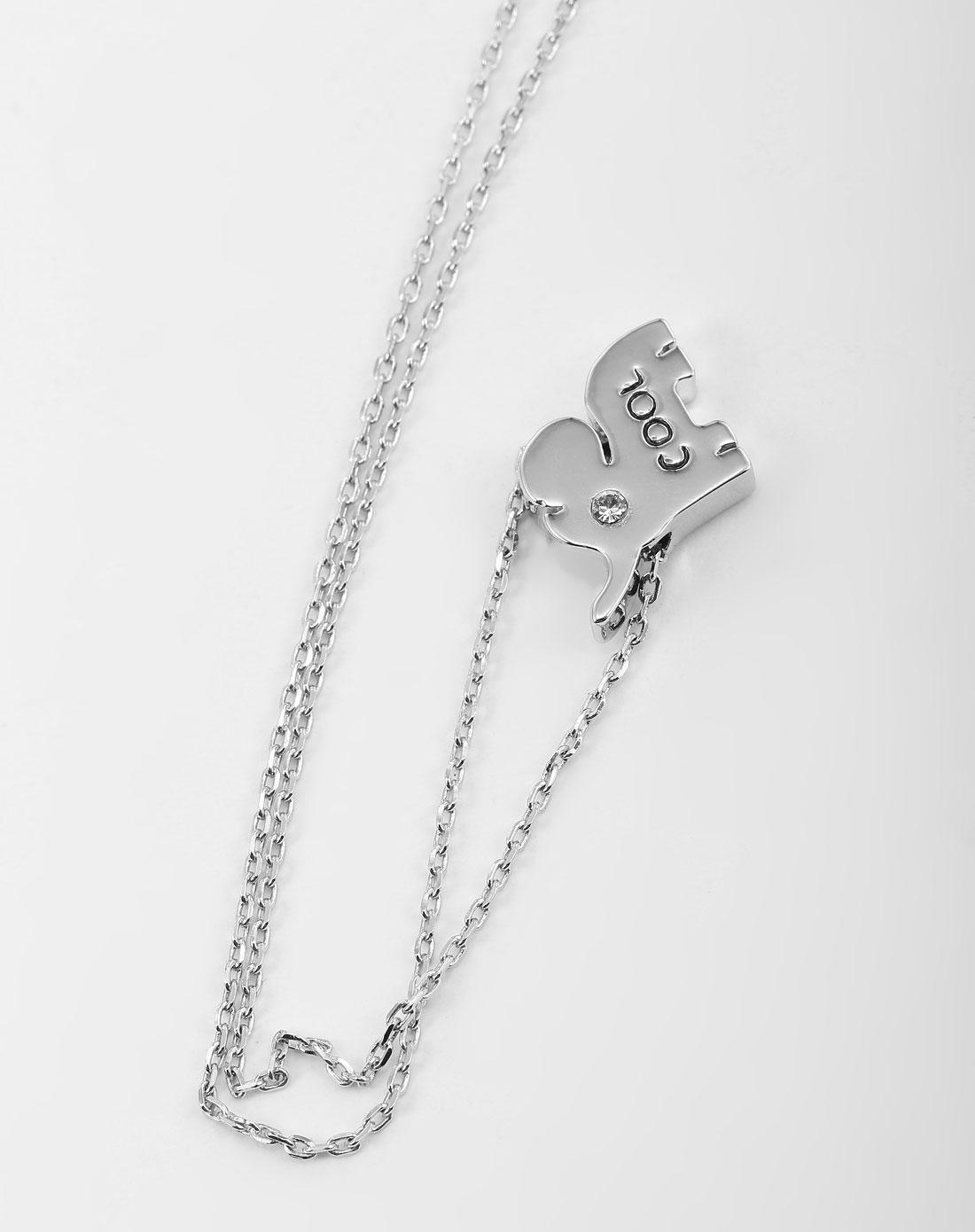 镶仿钻卡通小象吊坠银白色项链