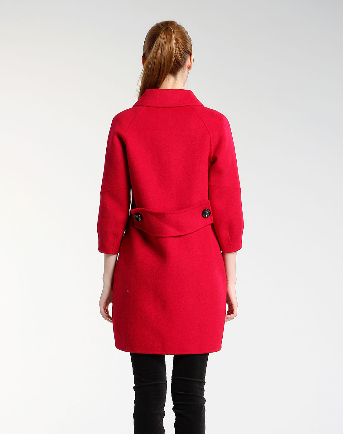 m经典毛呢红色中袖大衣w104c57-5