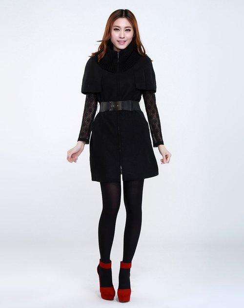 飘蕾 高贵针织拼接长款黑色短袖大衣