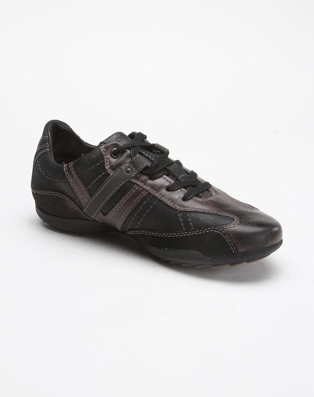 健乐士geox深灰黑色时尚拼接绑带休闲鞋u0331y023clc