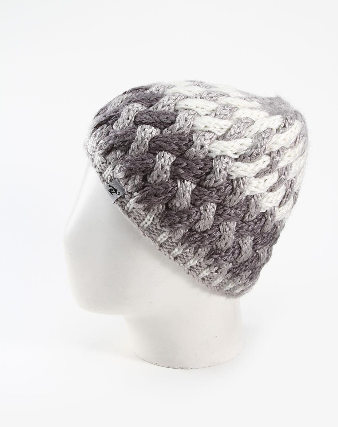 中性灰色时尚粗编织帽子
