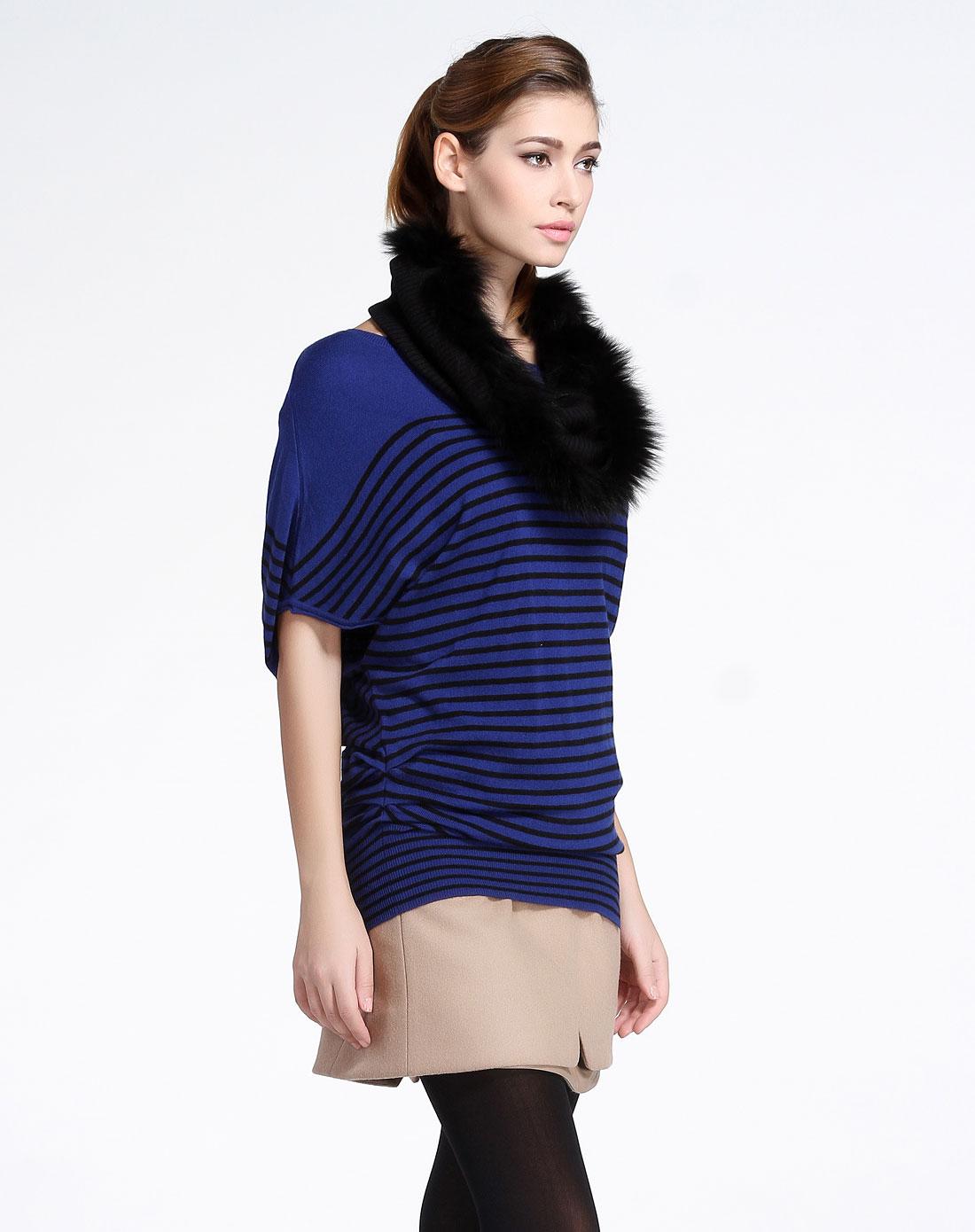 玛斯米亚miamia 蓝色横条时尚蝙蝠袖针织衫