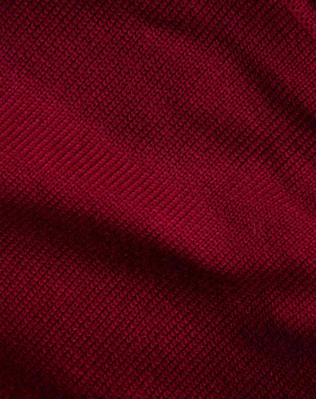 珂清keqing梅紅色高領漸變色含羊絨針織衫kq12057646