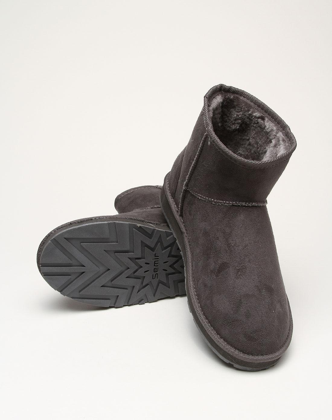 雪地靴哪个牌子最好_时尚深灰色简约雪地靴