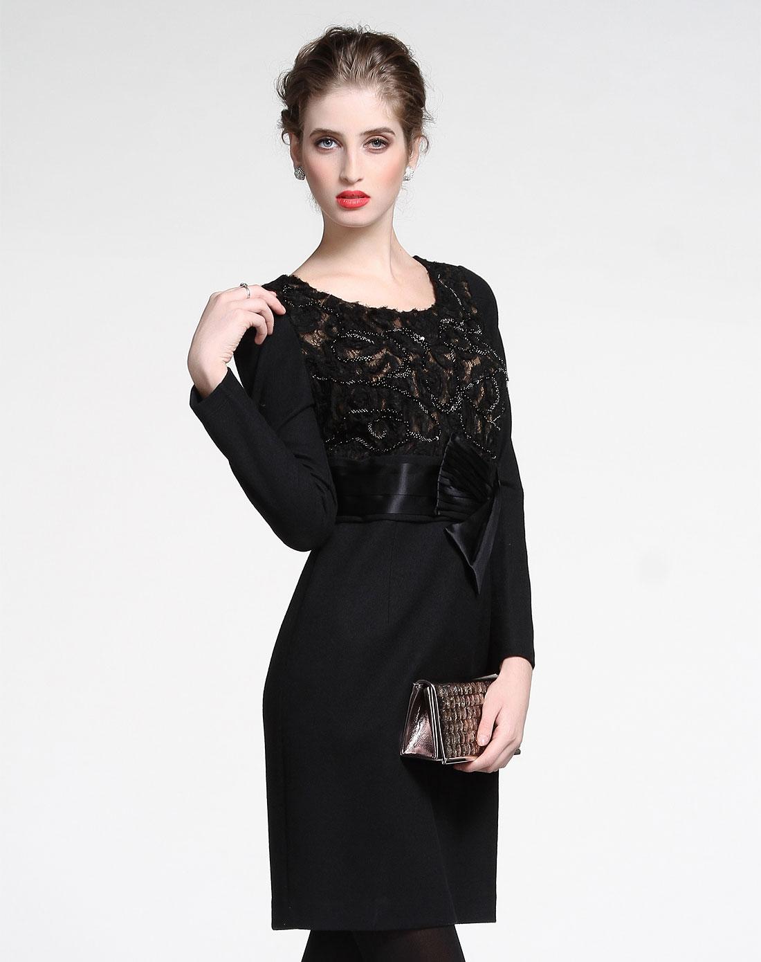 黑色淑女气质长袖连衣裙图片