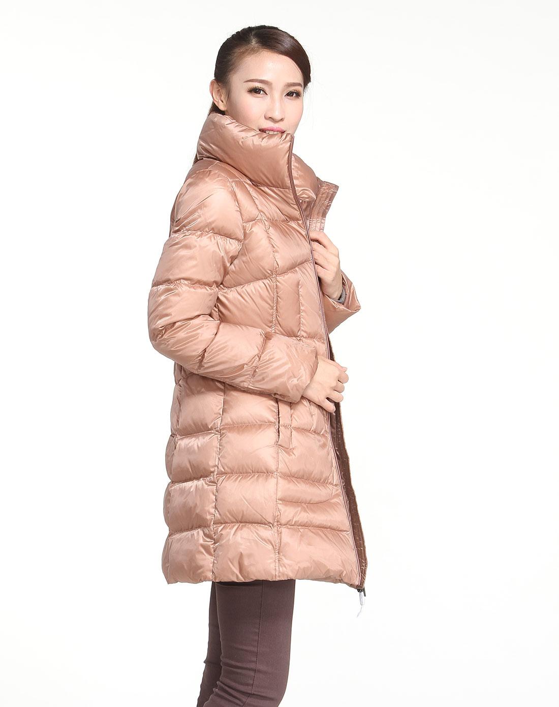 女款浅藕色休闲长袖羽绒服