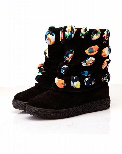 水之彩 黑色牛猄五彩民族风短靴