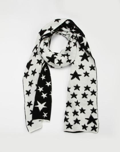 女款黑/白色魔方围巾