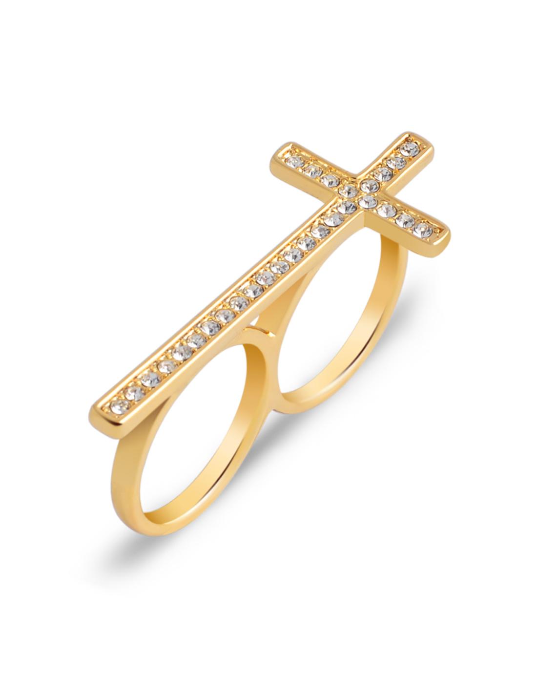哥特风信仰十字架双圈戒指