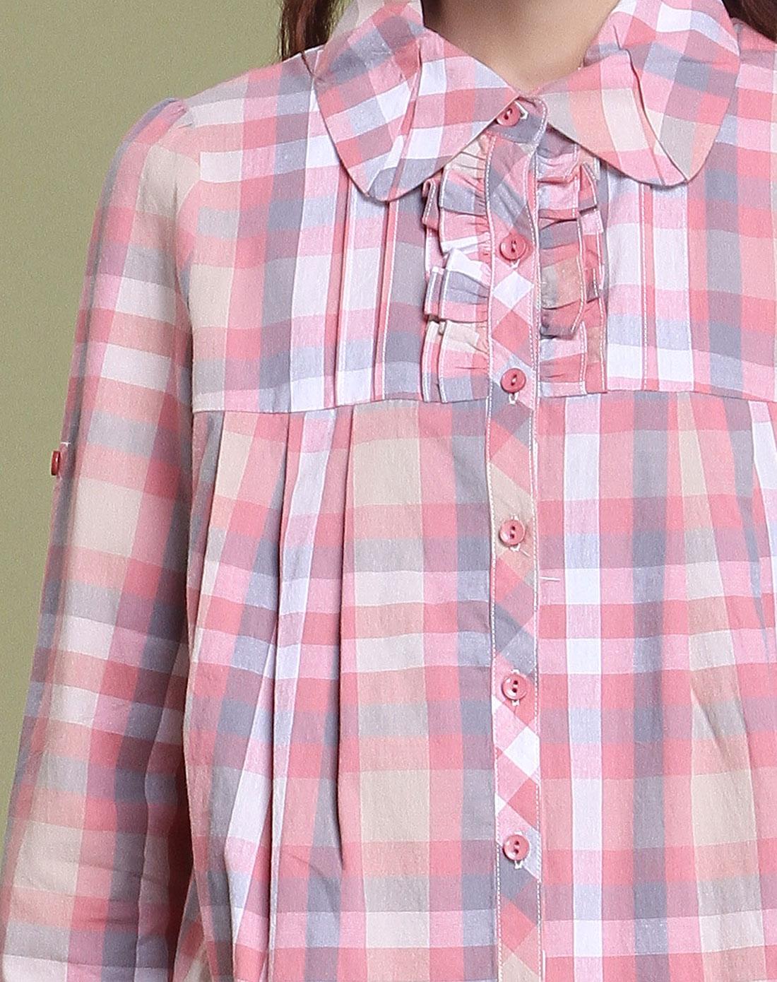 粉红色格子长袖衬衫