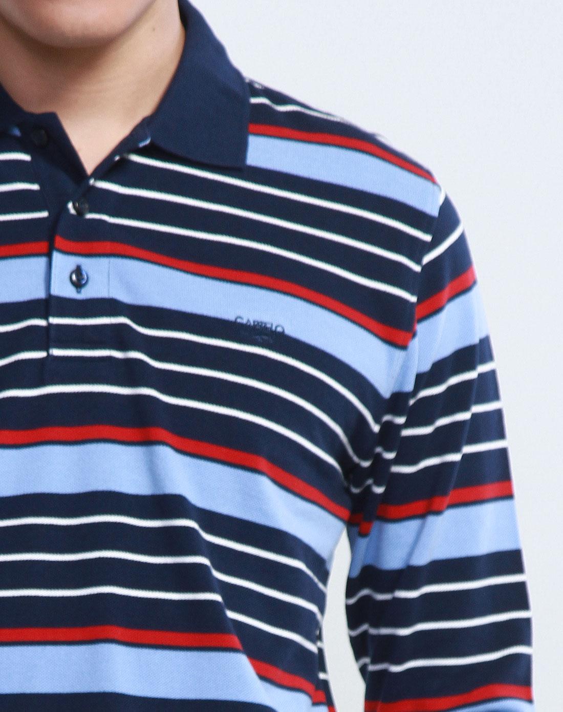 深蓝间浅蓝色长袖t恤