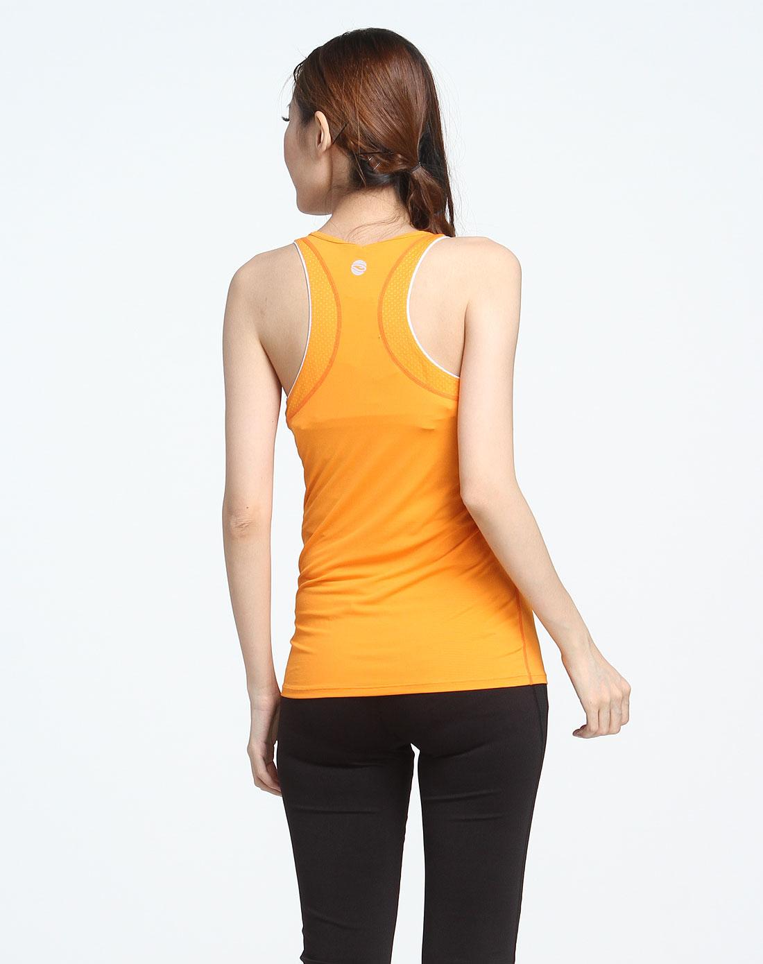 浩沙hosa男女运动健身专场-女款桔黄色跑步系列透气窄背背心