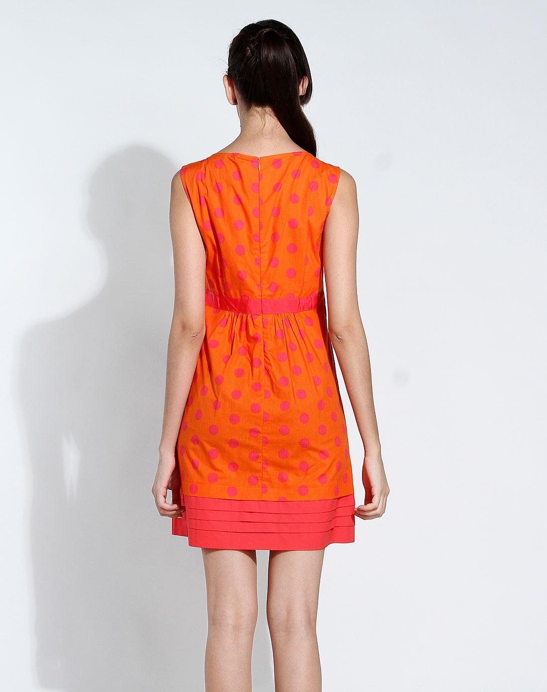 无袖跺(h��ފ9_橙色圆点气质无袖连衣裙