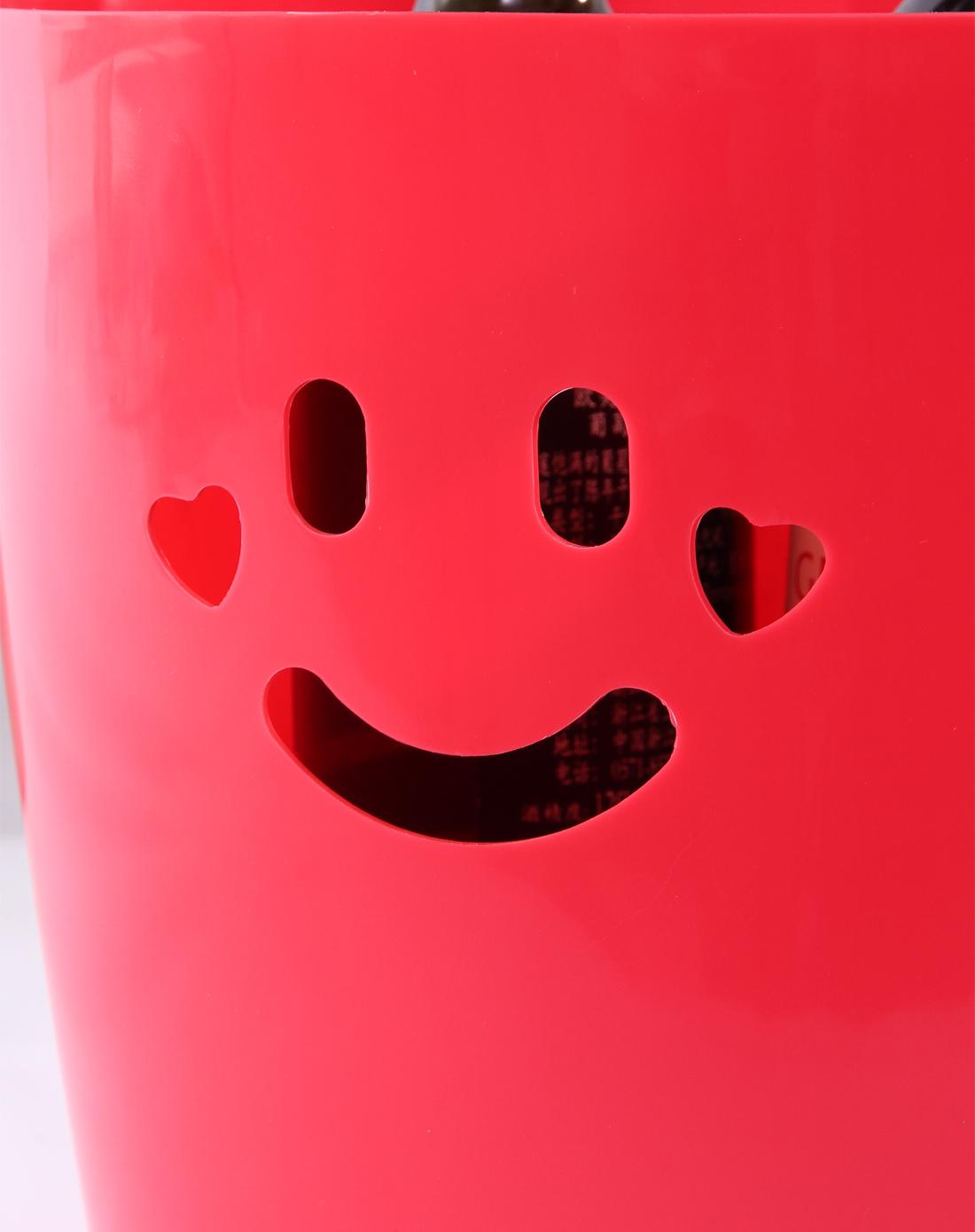 粉色可爱笑脸桌面收纳桶