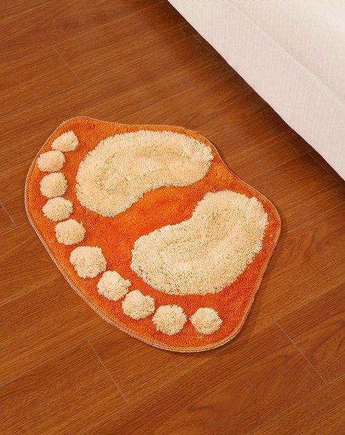 h&3 橙色可爱小脚丫浴室防滑踏垫