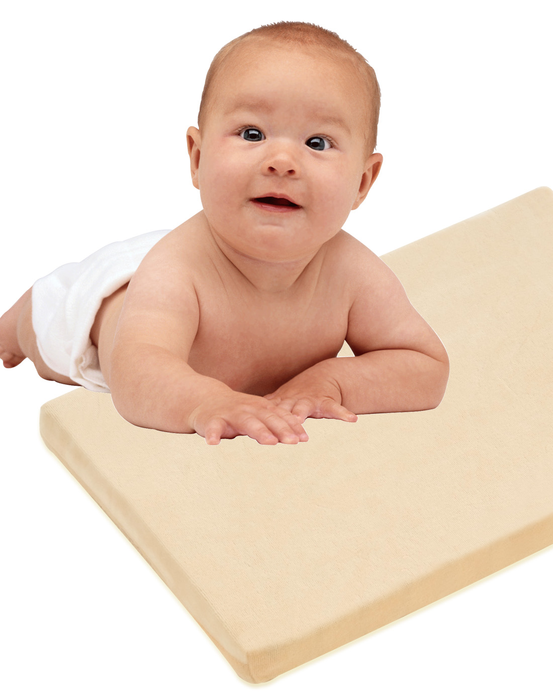 米白色天然乳胶婴儿趴枕图片