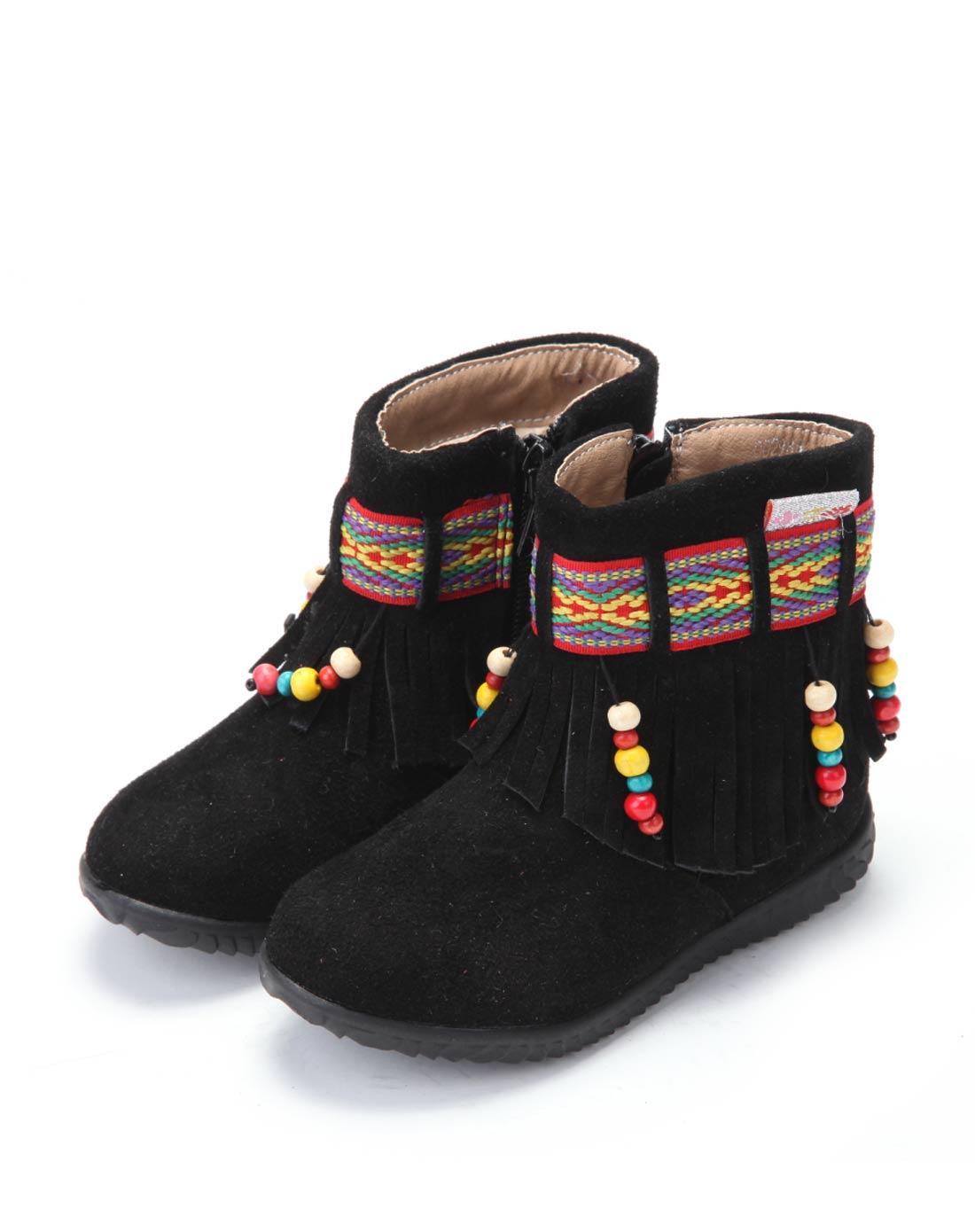 小叮当 女小童黑色流苏民族风短靴