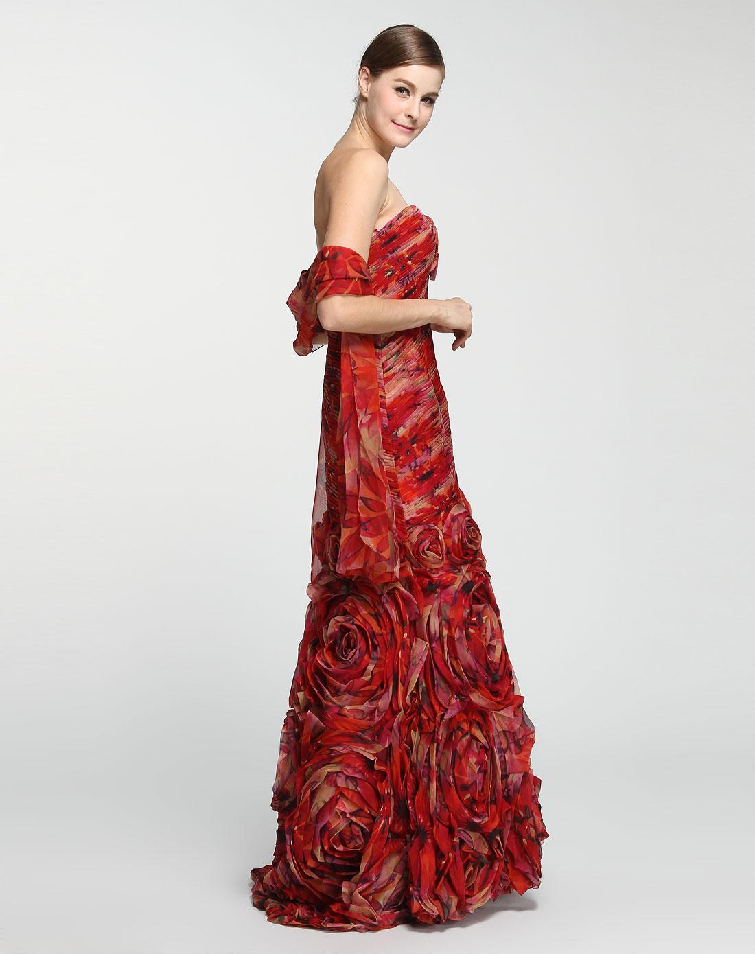 红色飘逸印花抹胸连衣裙