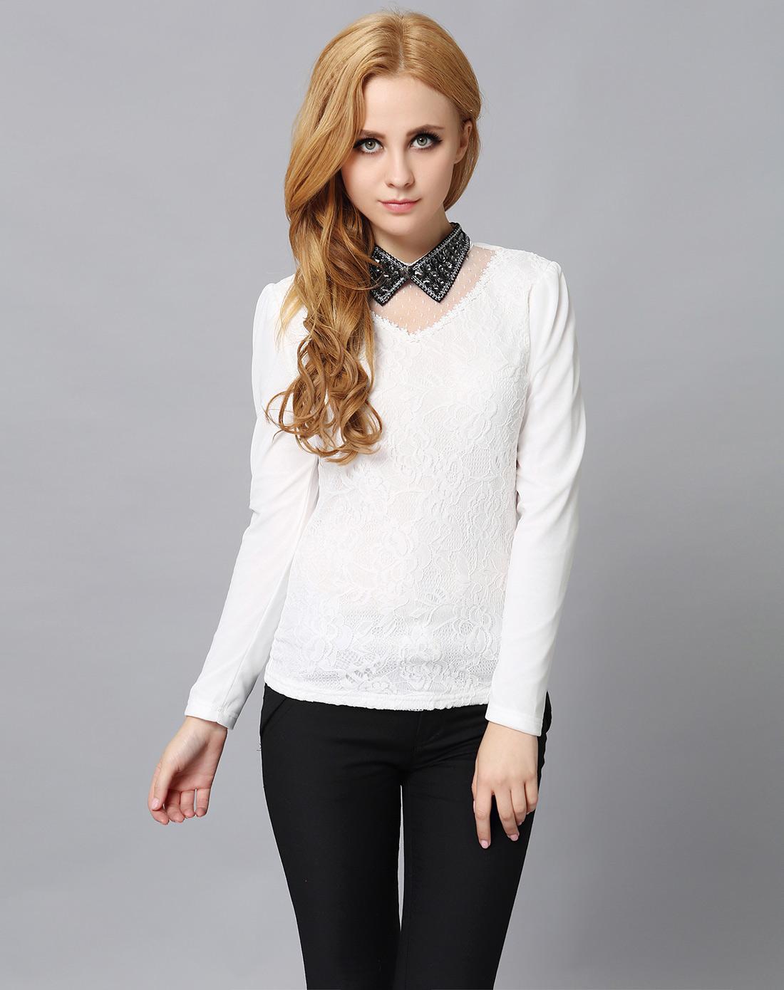 白色衬衣领烫钻蕾丝上衣