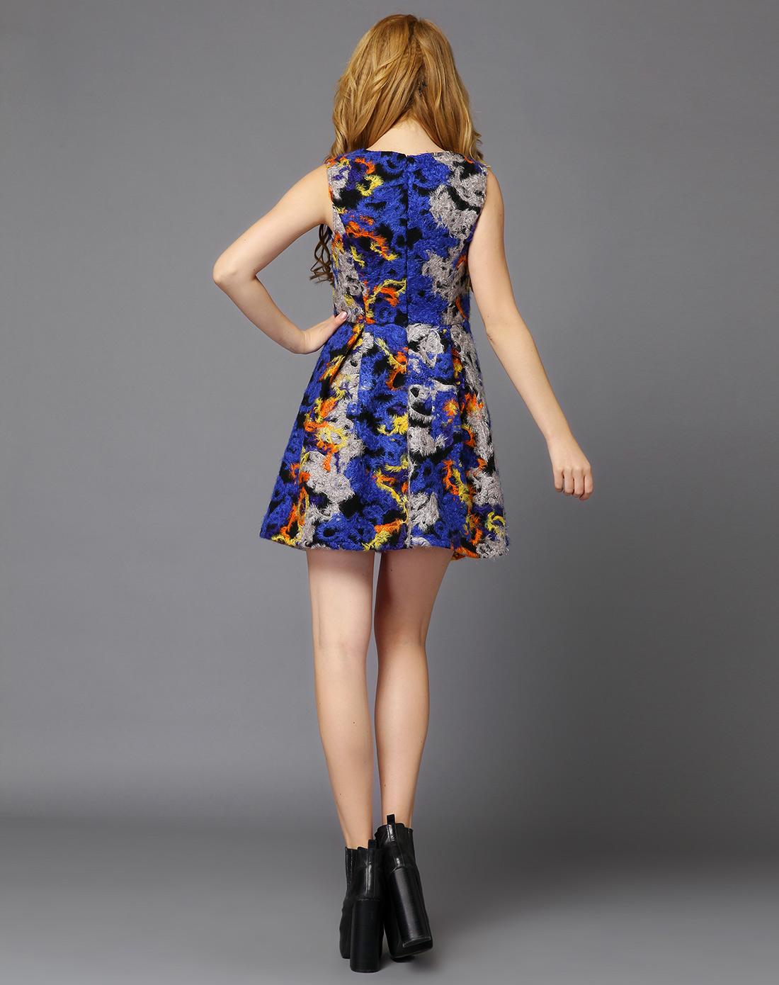 蓝色秋冬七彩双层加厚连衣裙