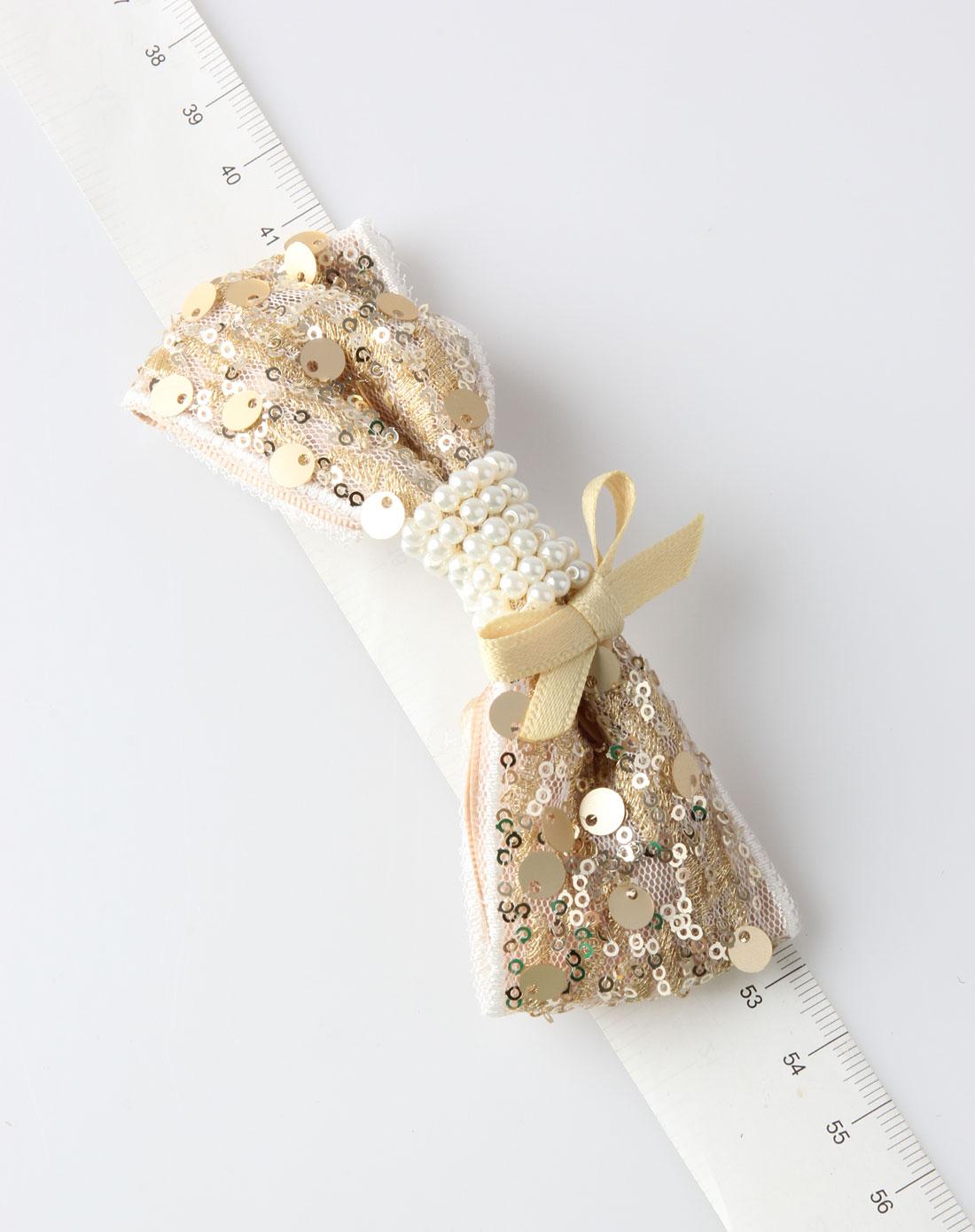 金色蕾丝珍珠花环发夹