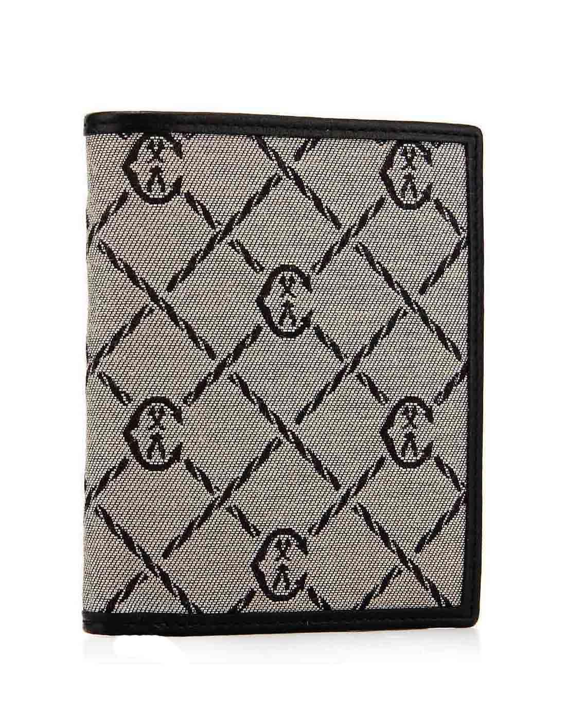 男士灰色时尚休闲菱格纹竖款钱包