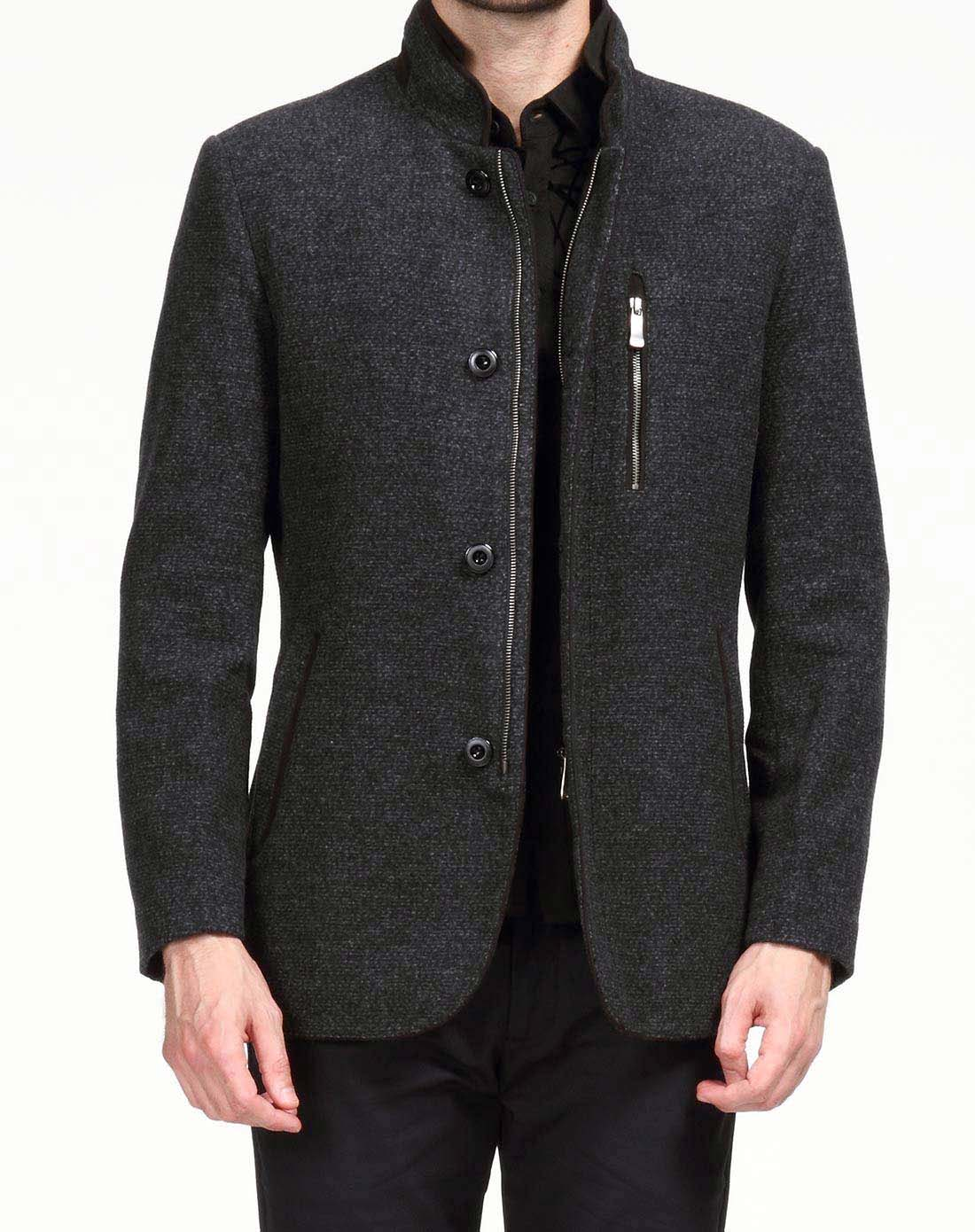 法利德fapailead复古英伦绅士黑灰色长袖茄克